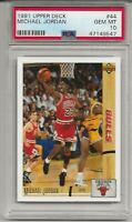 1991 UPPER DECK #44  MICHAEL JORDAN, PSA 10 GEM MINT, HOF, CHICAGO BULLS, L@@K