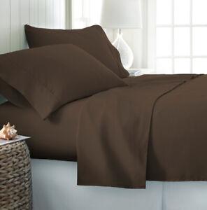 4 Pieces Coffee Brown Oversize/Deep Pocket Wrinkle Free Premium Bamboo Sheet Set