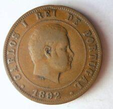 1892 Portugal 20 Reis - Alta Calidad Moneda - Envío Gratis - Ganga Bin #1