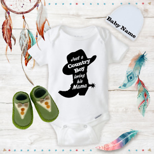 Personalized Name Cowboy Baby Boy Clothes Onesies Shoes Hat Baby Shower Gift Set