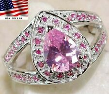 3CT Pink Sapphire 925 Solid Sterling Silver Ring Jewelry Sz 6, M2