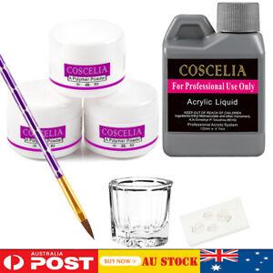 Acrylic Nail Art Starter Kit Clear White Pink Acrylic Powder 120ML Liquid Set AU