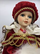 Beautiful Antique Porcelain Doll Unknown Maker, Red Gown Adjustable Stand 1990's