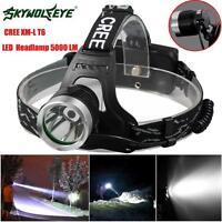 5000 Lm CREE XM-L XML T6 LED Headlamp Zoomable Waterproof Headlight Flashlight