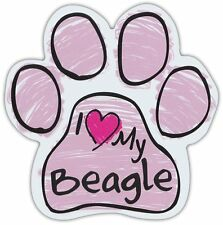 Pink Scribble Paws: I Love My Beagle | Dog Paw Shaped Car Magnets