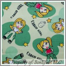 BonEful Fabric FQ Cotton Flannel Green Army Star Camouflage Diva Military Girl L