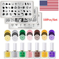 10Pcs/Set BORN PRETTY Nail Art Stamping Plate Gold Pink Stamping Polish DIY Kits