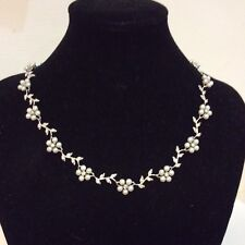Statement Sterling Silver Pearls and Cubic Zirconia Flower Collar Necklace.