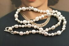 Vintage Jewellery Baroque White Pearl Necklace Antique Deco Jewellery Pearls