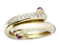 Wempe Ring Rubin Cabochons und Brillanten 750er Gelbgold