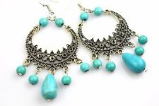 Beautiful Turquoise Stone Filigree Bohemian Earrings Gift for Special Her Loved