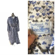 Vtg 40-50s Blue Handmade Floral Printed Rayon Day Dress-Bust 37/S