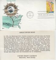 1966 #1319 GREAT RIVER ROAD FDC COVER CRAFT CACHET W/ INSERT UA GEM!
