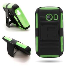Belt Holster Case Neon Green + Black Tough Cover for Samsung Galaxy Ace Style