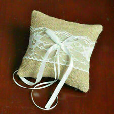 Retro Rustic Wedding Party Lace Burlap Jute Ring Bearer V2X7 Pillow R5F5 U7Y0