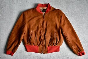 Vtg 60s 70s Ideal Casual Wear Brown Suede Leather Bomber Jacket Talon Zip USA L