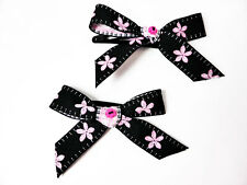 Black with Pink Flowers Ribbon Bow Barrettes