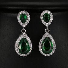 Retro White Gold Filled Hoop Drop Dangle Emerald Gems Earrings Wedding Jewelry