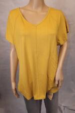 GINA LAURA ~ M 40/42 ~ T-Shirt Shirt gelb kurzarm V-Ausschnitt ~ NEU
