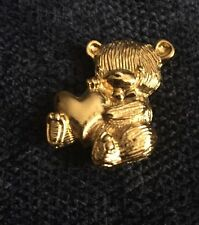 Goldtone Bear With Heart Metal Pin Broach Signed 79 Jewelry