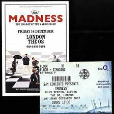 MADNESS - 2012 FLYER + TICKET FOR LONDON O2 GIG - SUGGS SKA TWO 2 TONE SPECIALS