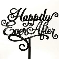 Happily Ever After Marriage Script Acrylic Wedding Day Cake Topper Silhouette