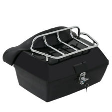 Motorcycle Luggage Tour Trunk Tail Box with Top Rack Backrest & 2 Keys