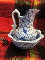 Vintage Victorian Style Small Bowl and  Pitcher Set, blue & white floral prints