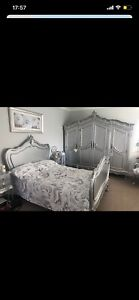 La Rochelle Antique French Double Bed Frame And Bedside Cabinets Silver