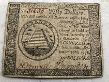 Us $50 Continental Currency Note Sept. 26,1778 - Double Signature.