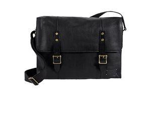 Cole Haan Men's Italian Leather Greenwich Messenger Bag Crossbody Black NEW