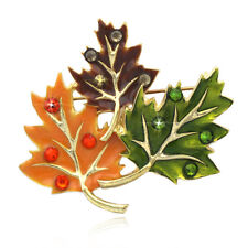 Colorful Fall Foliage Maple Leaves Brooch Pin Pendant Thanksgiving Jewelry