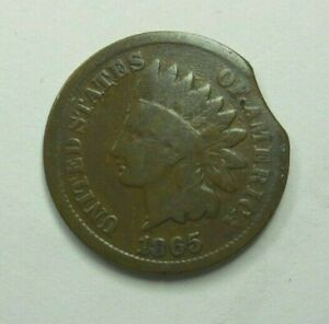 1865 INDIAN HEAD CENT CLIPPED PLANCHET US MINT ERROR - FREE SHIPPING!