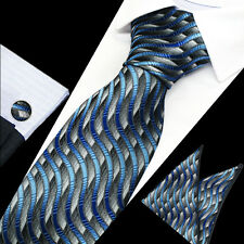 Hot New Classic Style Men's 100% Silk Ties Sets Neckties Hanky Cufflinks TS-1215