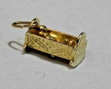 14K Yellow Gold Baby in Crib or Bassinet or Cradle Charm