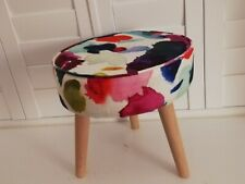 Funky Footstool Circular in Bluebellgray Abstract Fabric