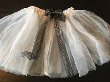 girls WHITE TUTU SKIRT black bow polka dot GHOST HALLOWEEN COSTUME size 4T 5
