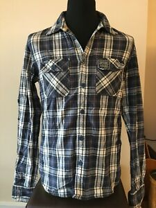 SuperDry Casual Shirt Blue Multi Check Adult Size Large (M35)
