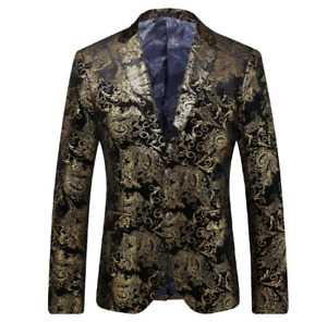 Mens Gold Casual 2PCS Printing Floral Slim Fit Two Button Blazer Straight Pants