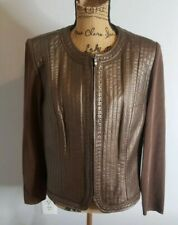 Nygard Collection Womens 14-18 LG Bronze Leather Front Knit Back Zip Up Jacket
