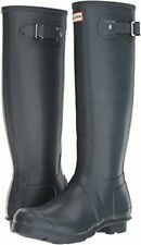 HUNTER ORIGINAL TALL RAIN BOOTS ADJUSTABLE GREY MATTE SIZE 7