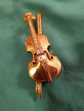 Signed Swarovski Brooch Gold Tone Violin & Bow w/ Austrian Rhinestones Swan Mark