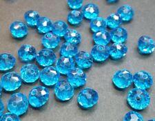 20 perles 8x6mm à facettes en verre turquoise //12