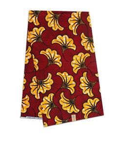 African Cotton Fabric Wax Block Print On Red Beautiful Design Per Yard Sewing