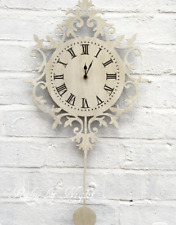 Ornate Pendulum Wall Clock Ivory Distressed Shabby Chic French Vintage Large