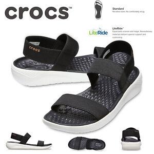 Crocs Women's LiteRide Sandals Shoes Summer Elastic Slip On - Black/White
