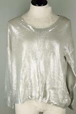 NWT Cecico Silver Shiny Wet Look Knit Boxy Crewneck Sweater S 6 8 10