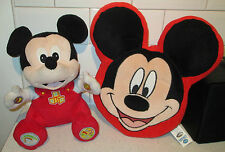 """14"""" Talking mickey mouse jouet doux + 14"""" Mickey Mouse Clubhouse Coussin Oreiller"""