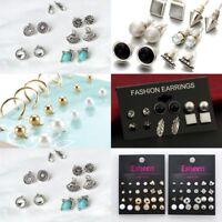 12 Pairs Fashion Rhinestone Crystal Pearl Earrings Sets Women Ear Stud Jewelry