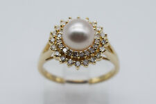 14K Yellow Gold Lady Ring with Pearl and 0.35 Ct Round Diamonds - Band Size 6.5
